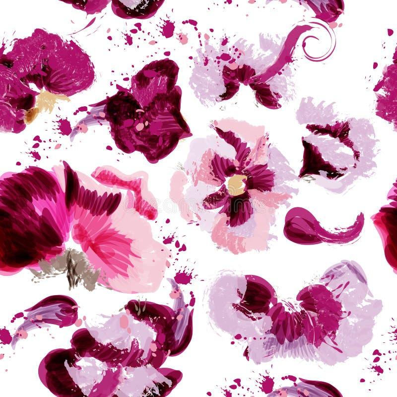 Abstrakcjonistyczny wektor menchii kwiatu wzór z punktami w grunge stylu ilustracji