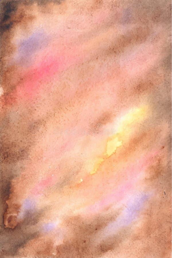 Abstrakcjonistyczny wektorowy artystyczny brown akwareli tło ilustracja wektor
