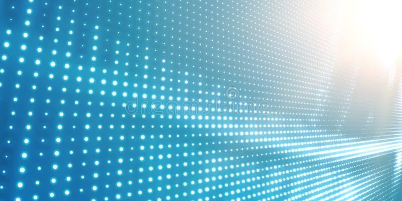Abstrakcjonistyczny wektorowy bławy tło z błyszczeć neonowych światła Neonowy znak z abstrakcjonistycznym wizerunkiem w perspekty royalty ilustracja