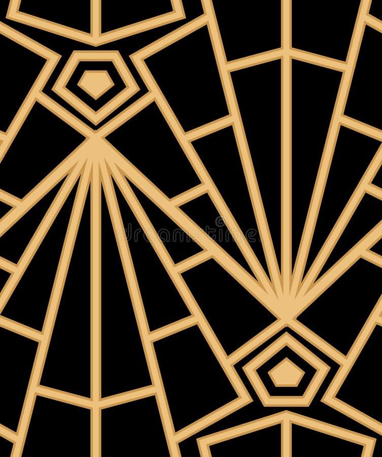 Abstrakcjonistyczny wektorowy bezszwowy art deco wzór z stylizowaną skorupą ilustracja wektor