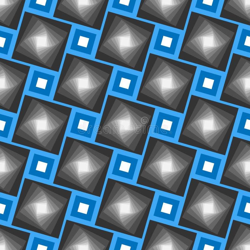 Abstrakcjonistyczny wektorowy bezszwowy geometrical wzór Błękit ramy z popielatymi cień płytkami ilustracji