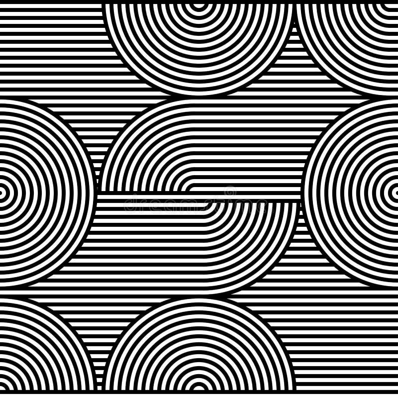 Abstrakcjonistyczny wektorowy bezszwowy op sztuki wzór Czarny i biały wystrzał sztuka, graficzny ornament złudzenie optyczne royalty ilustracja