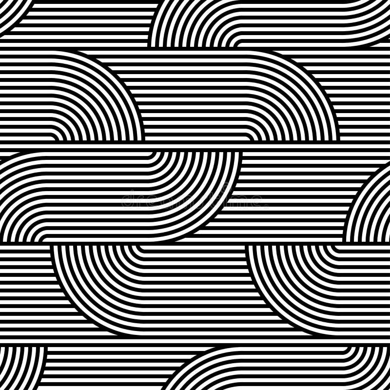 Abstrakcjonistyczny wektorowy bezszwowy op sztuki wzór Czarny i biały wystrzał sztuka, graficzny ornament złudzenie optyczne ilustracja wektor