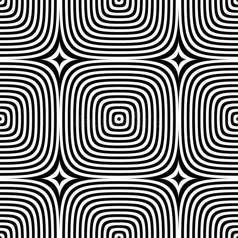Abstrakcjonistyczny wektorowy bezszwowy op sztuki wzór Monochromatyczny graficzny ornament ilustracji