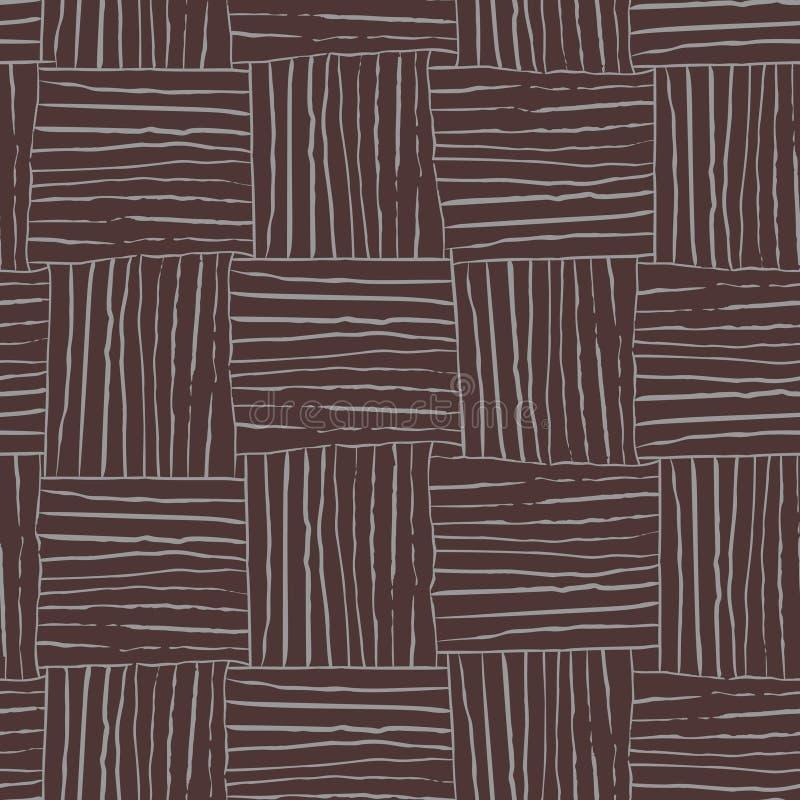 Abstrakcjonistyczny wektorowy bezszwowy wzór z ręką rysującą wyplatający drewnianą teksturę Wielostrzałowy tło dla tkaniny, pości royalty ilustracja