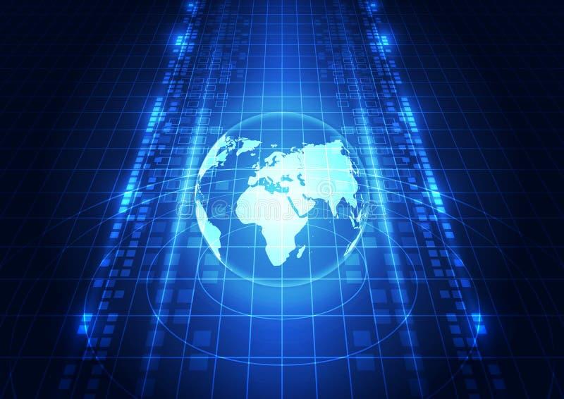 Abstrakcjonistyczny wektorowy cyfrowy globalnej sieci technologii tło royalty ilustracja