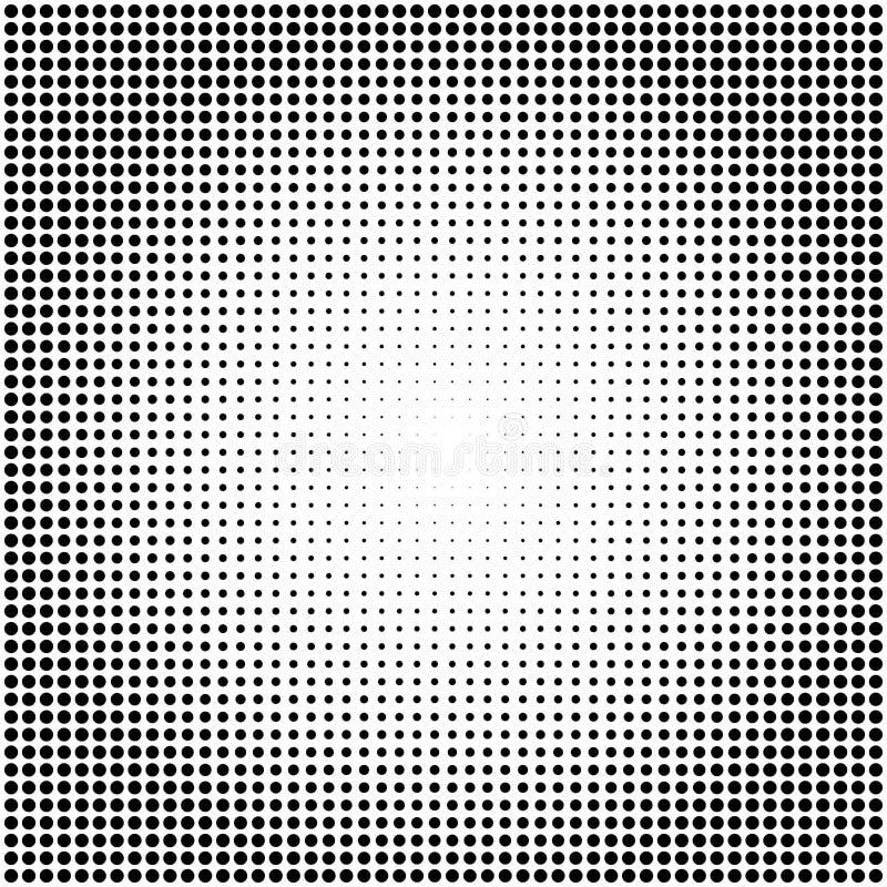 Abstrakcjonistyczny wektorowy czarny i biały kropkowany halftone tło royalty ilustracja