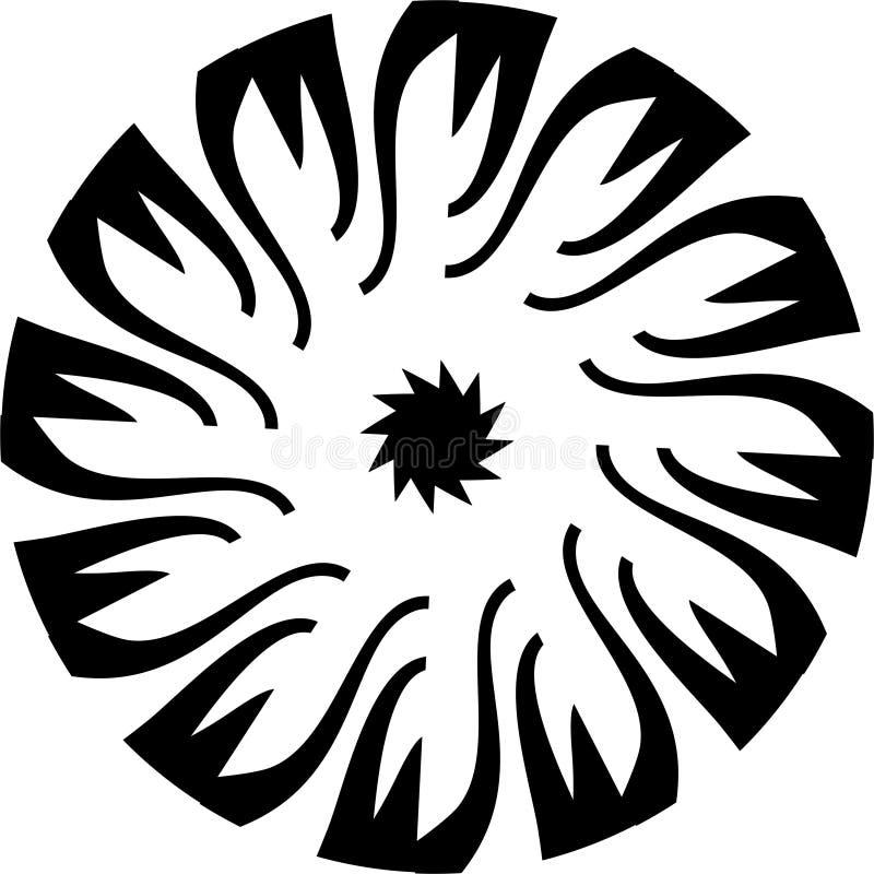 Abstrakcjonistyczny Wektorowy Czarny i biały mandala kwiatu geometryczni płatki, gwiazda w centrum projekcie ilustracji