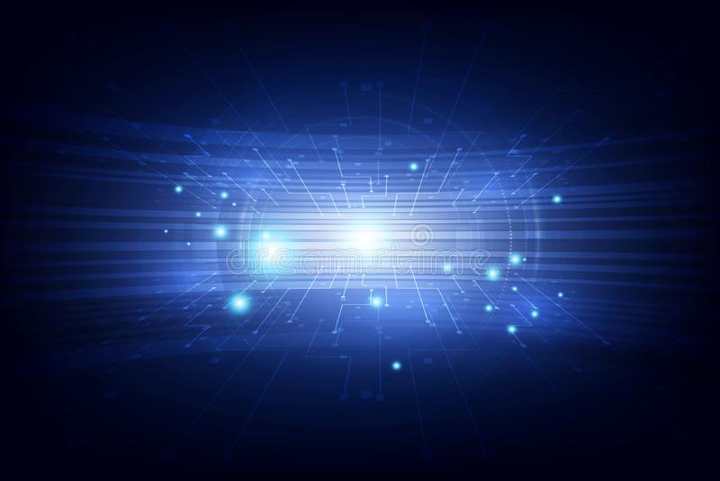 Abstrakcjonistyczny wektorowy futurystyczny błękitny podłączeniowy wysoki technologii cyfrowej pojęcie ilustracja tło galerii mni ilustracja wektor