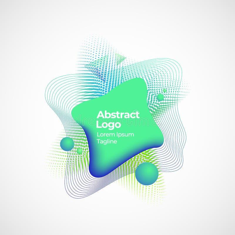Abstrakcjonistyczny Wektorowy Geometryczny Ciekły sztandaru, emblemata lub logo szablon, Kreatywnie dekoracja dla tło lub plakató ilustracji