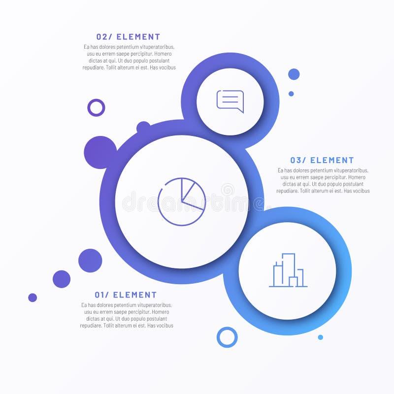 Abstrakcjonistyczny wektorowy gradientowy minimalistic infographic szablon komponował 3 okręgu royalty ilustracja