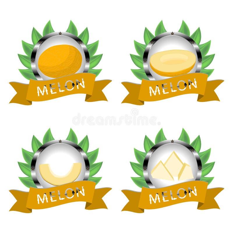 Abstrakcjonistyczny wektorowy ilustracyjny logo dla całego dojrzałego owocowego żółtego melonu ilustracji