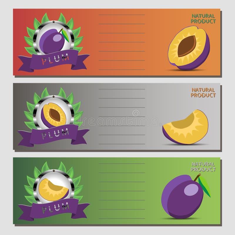 Abstrakcjonistyczny wektorowy ilustracyjny logo dla całej dojrzałej owocowej purpurowej śliwki royalty ilustracja