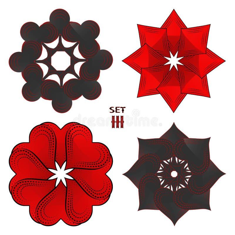 Abstrakcjonistyczny wektorowy ilustracyjny logo dla ustalonych karta do gry w hazardu grzebaku royalty ilustracja