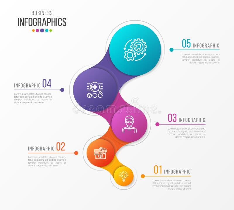 Abstrakcjonistyczny wektorowy infographic projekt 5 kroków linii czasu pojęcie royalty ilustracja
