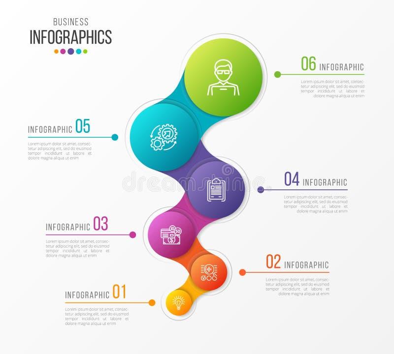 Abstrakcjonistyczny wektorowy infographic projekt 6 kroków linii czasu pojęcie ilustracja wektor