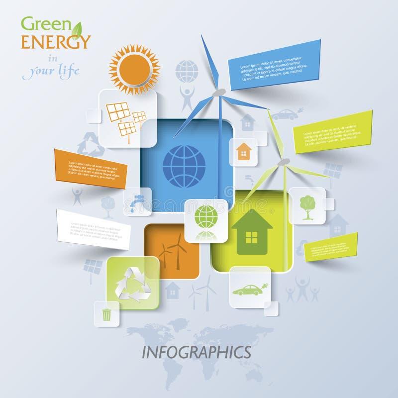 Abstrakcjonistyczny wektorowy Infographic z silnikami wiatrowymi, zielona energia ilustracji