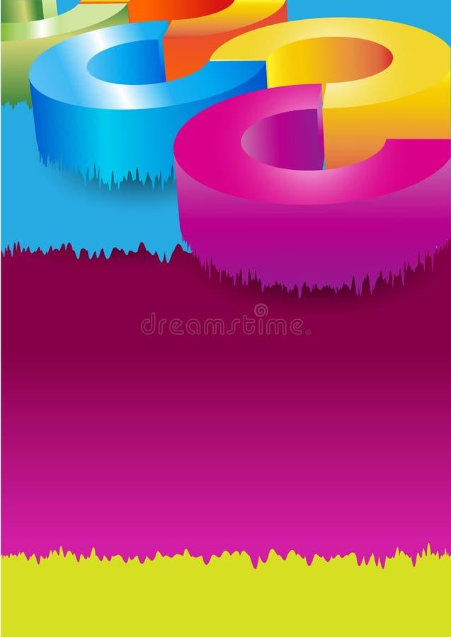 Abstrakcjonistyczny wektorowy kolorowy tło z spływanie barwiącymi okręgami ilustracji
