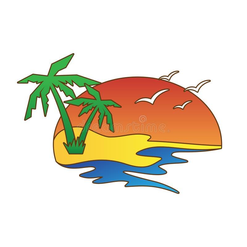 Abstrakcjonistyczny wektorowy lato z graficznym zmierzchem, drzewkami palmowymi i ptakiem, ilustracja wektor