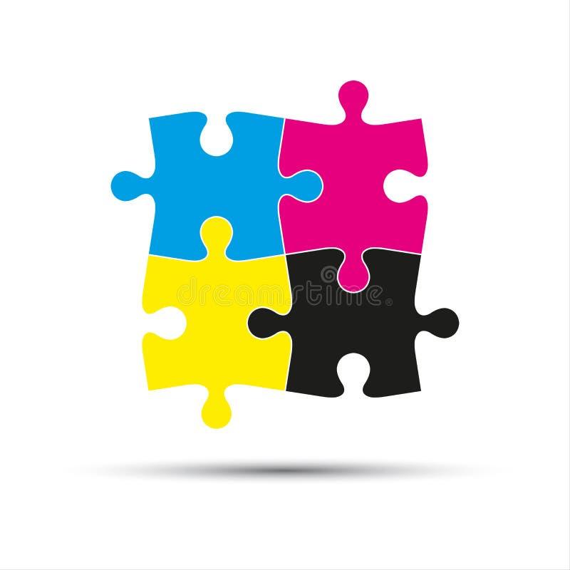 Abstrakcjonistyczny wektorowy logo, cztery łamigłówka kawałka w cmyk barwi ilustracji