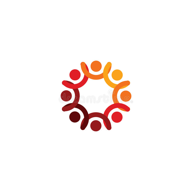 Abstrakcjonistyczny wektorowy logo przedstawia stylizowanych ludzi które trzymają ręki i jednoczą w zjednoczeniu, ludzkiej pomocy ilustracja wektor