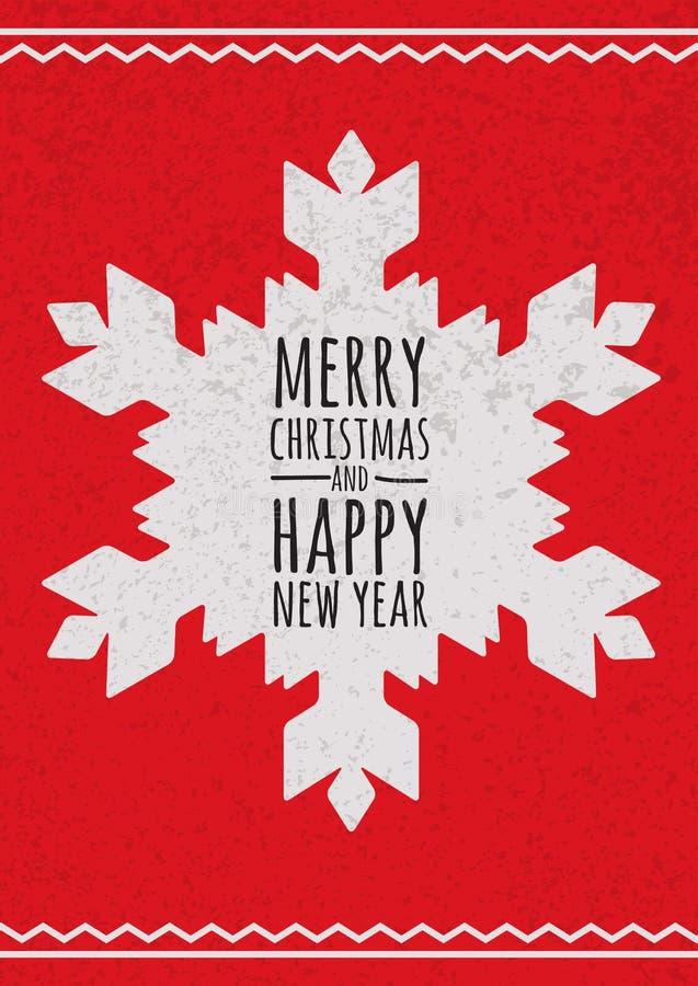 Abstrakcjonistyczny wektorowy płatek śniegu na czerwonym grunge tle Boże Narodzenia lub royalty ilustracja