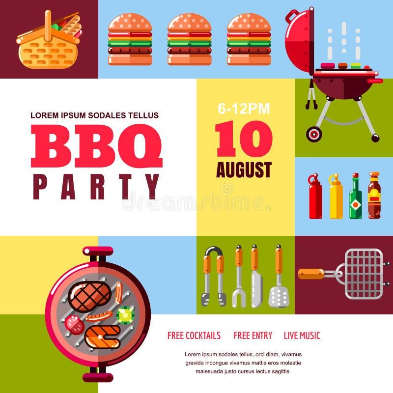 Abstrakcjonistyczny wektorowy plakat lub sztandaru szablon BBQ i grilla ilustracja Grilla jedzenie, wyposażenie i narzędzie ikony ilustracja wektor