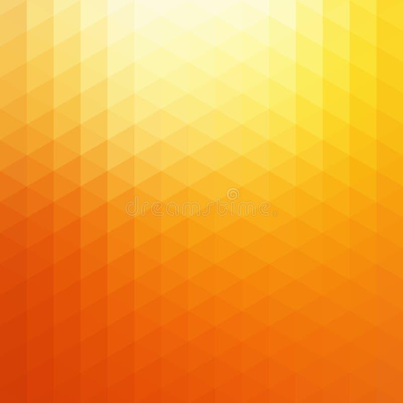 Abstrakcjonistyczny Wektorowy Pomarańczowy światło słoneczne trójboka tło Pogodna Żółta Geometryczna Rozjarzona tło ilustracja royalty ilustracja