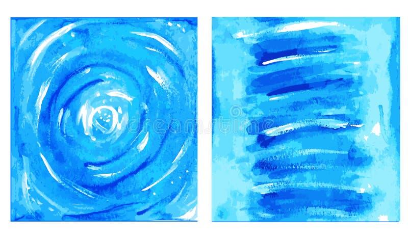 Abstrakcjonistyczny wektorowy printable set wewnętrzny obrazu obrazek Błękitny indygowy sztuka druk zdjęcie stock