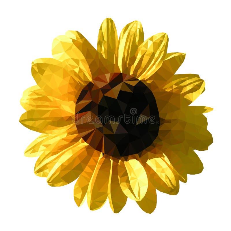 Abstrakcjonistyczny wektorowy słonecznik, niski poli- styl ilustracja wektor