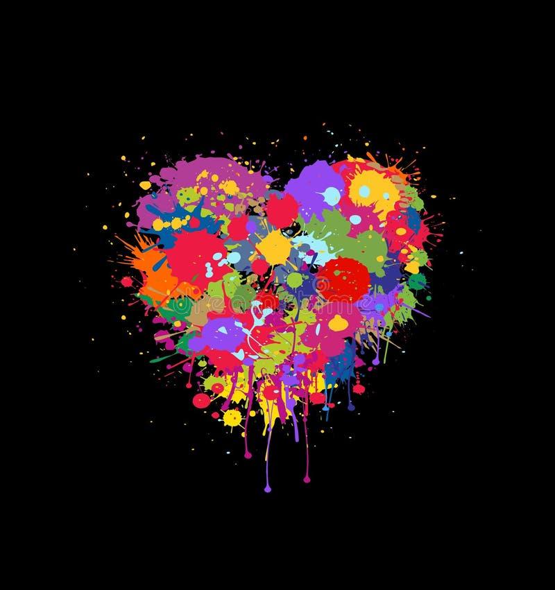 Abstrakcjonistyczny wektorowy serce robić kolorowi pluśnięcia farba na czarnym tle royalty ilustracja