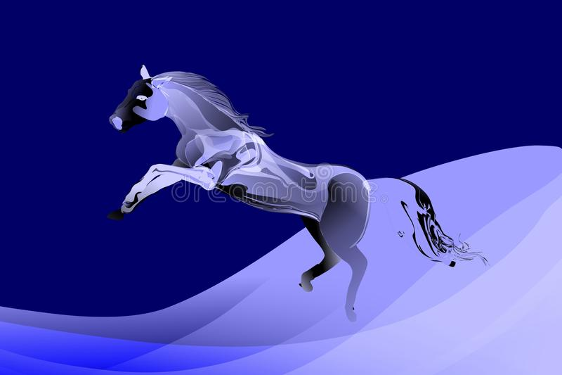 Abstrakcjonistyczny wektorowy skokowy koń w błękicie biali tonalni kolory z falistym tłem ilustracja wektor