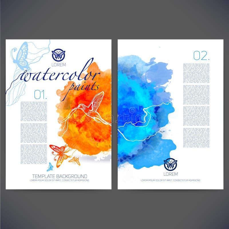 Abstrakcjonistyczny wektorowy szablonu projekt z barwionymi motylami i ptakami ilustracja wektor