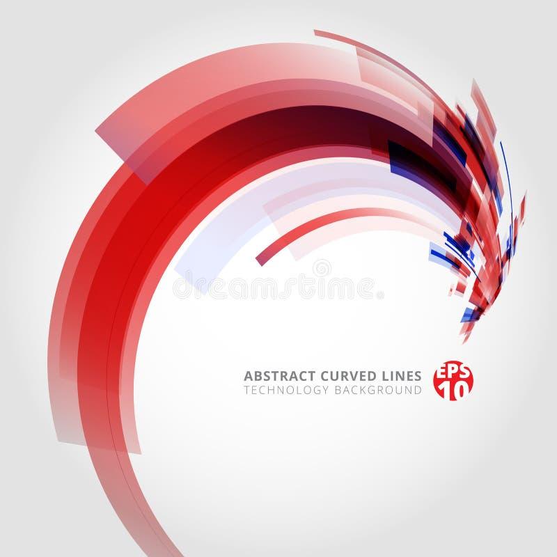 Abstrakcjonistyczny wektorowy tło element w czerwonych i błękitnych kolorach wygina się ilustracji