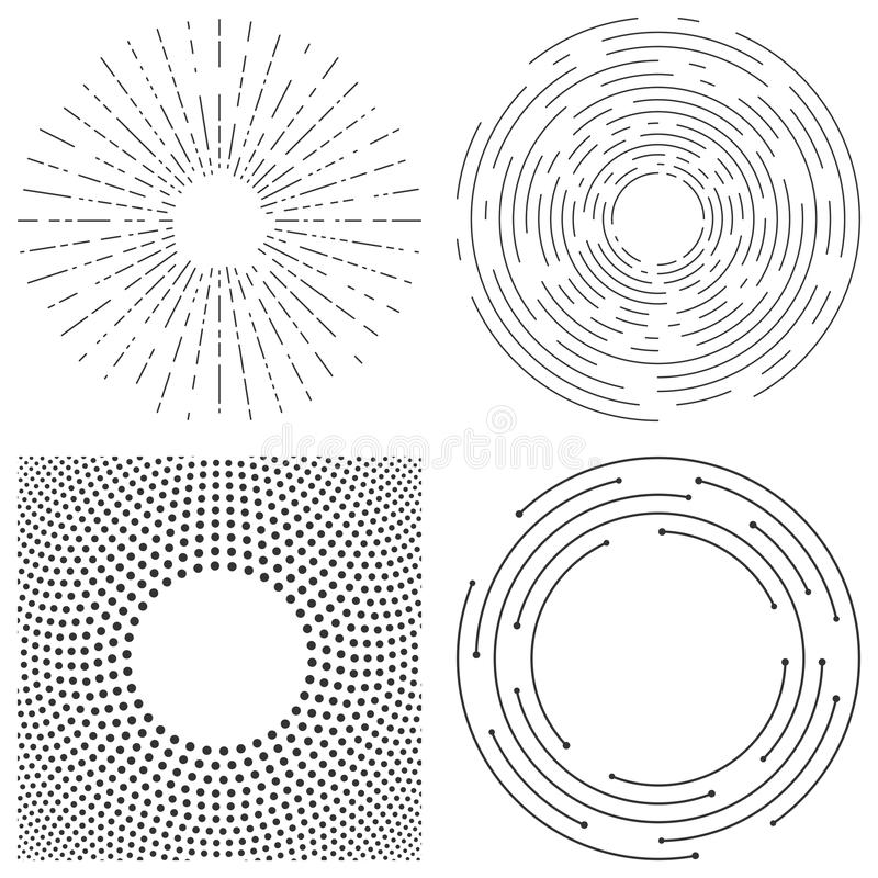 Abstrakcjonistyczny wektorowy tło koncentryczni okręgi Crcular linie royalty ilustracja