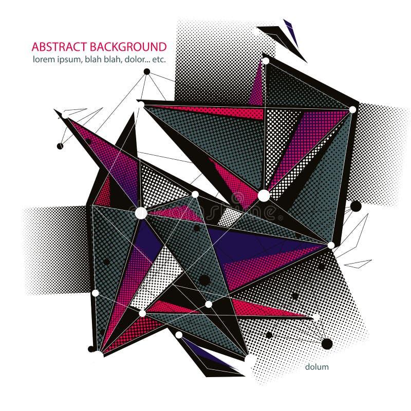 Abstrakcjonistyczny wektorowy tło, nowożytny stylowy tematu układ, związek i komunikacyjna 3d abstrakta siatka, technologii i nau ilustracji
