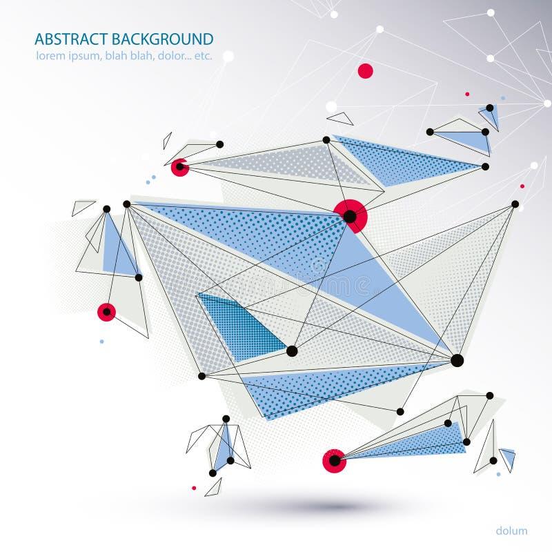 Abstrakcjonistyczny wektorowy tło, nowożytny stylowy tematu układ, związek i komunikacyjna 3d abstrakta siatka, technologii i nau ilustracja wektor