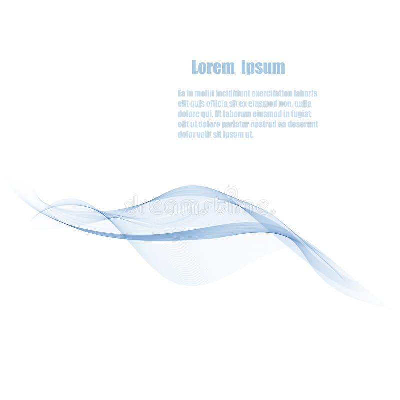 Abstrakcjonistyczny wektorowy tło, przejrzyste zaondulowane linie dla strony internetowej, ulotka projekt błękit dymu fala ilustracji
