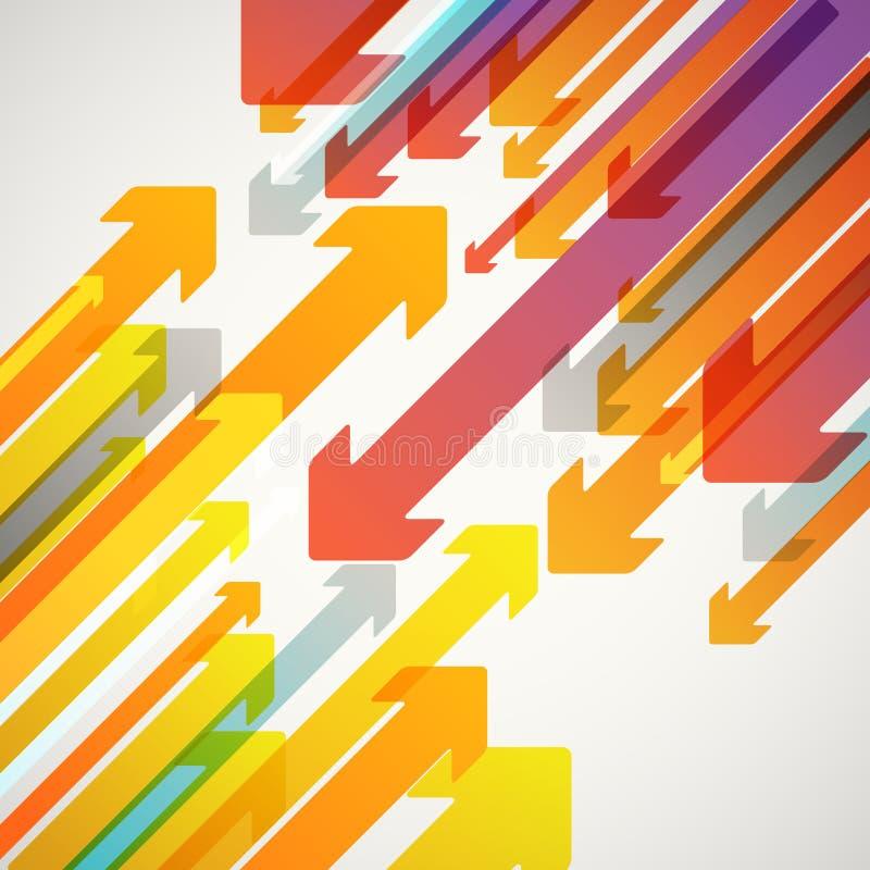 Abstrakcjonistyczny wektorowy tło różne kolor strzała ilustracji