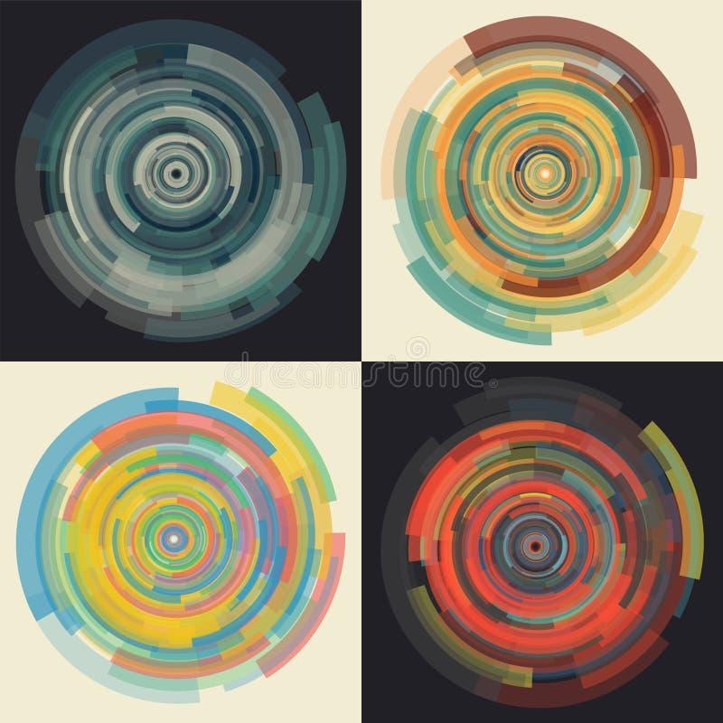Abstrakcjonistyczny wektorowy tło w koncentrycznych jednakowo zmniejsza kółkowych elementach ilustracji