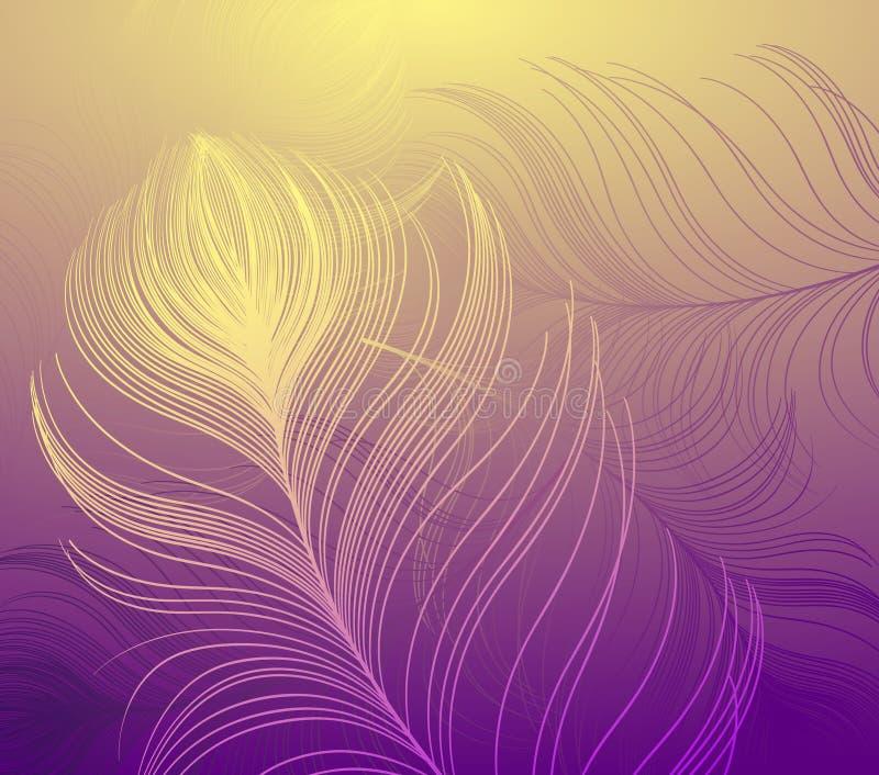 Abstrakcjonistyczny wektorowy tło z kolorowymi pawimi piórkami ilustracji