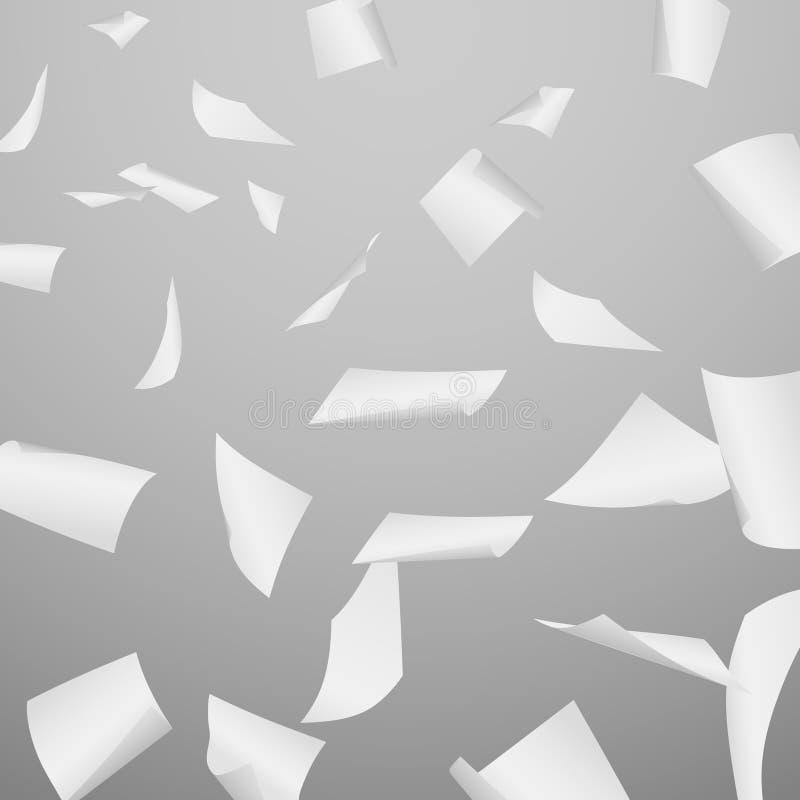 Abstrakcjonistyczny wektorowy tło z lataniem, spadać, rozpraszający biurowi białego papieru prześcieradła, dokumenty royalty ilustracja