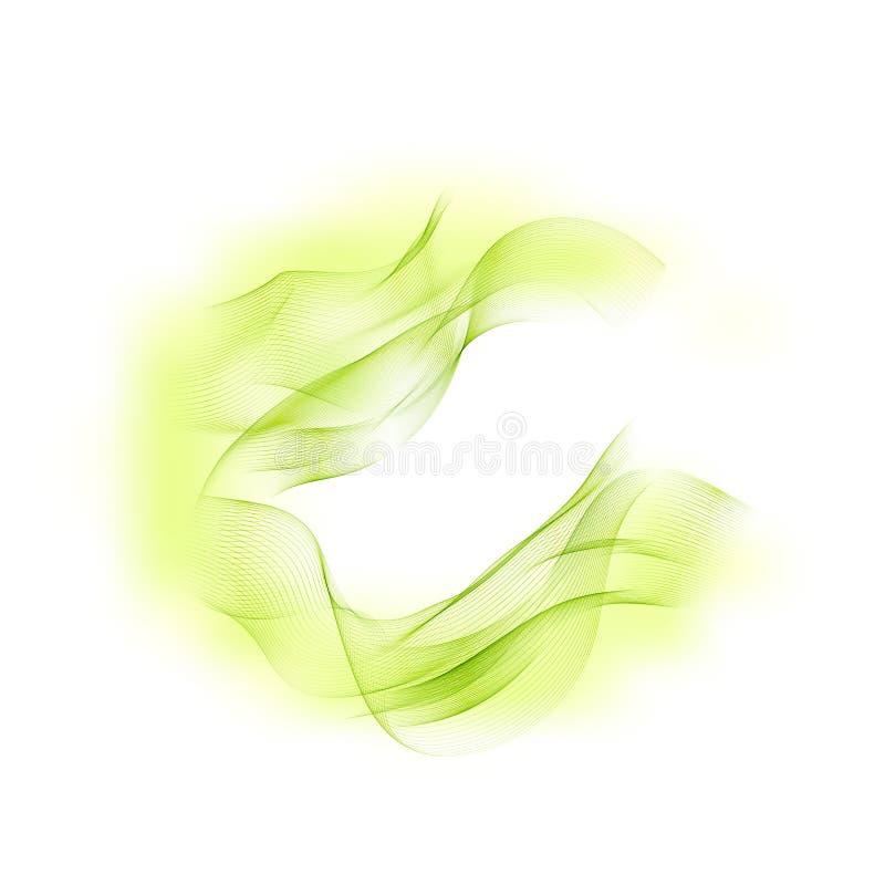 Abstrakcjonistyczny wektorowy tło, zieleń przepływ machający wykłada dla broszurki, strona internetowa, ulotka projekt Przejrzyst ilustracji