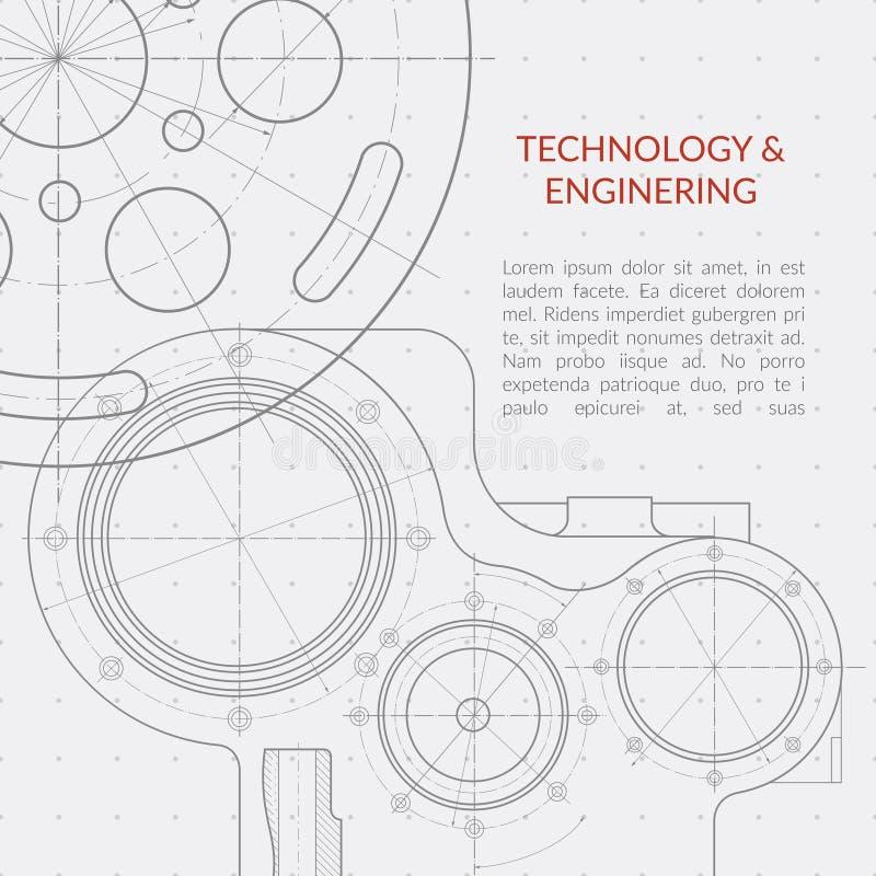 Abstrakcjonistyczny wektorowy technologii i inżynierii tło z technicznym, machinalnym rysunkiem, royalty ilustracja
