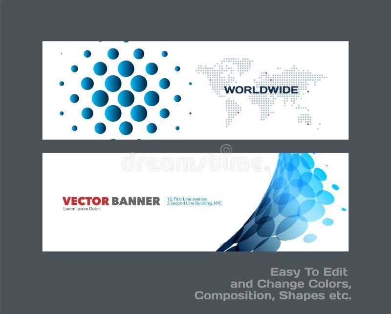 Abstrakcjonistyczny wektorowy ustawiający nowożytni horyzontalni strona internetowa sztandary ilustracja wektor