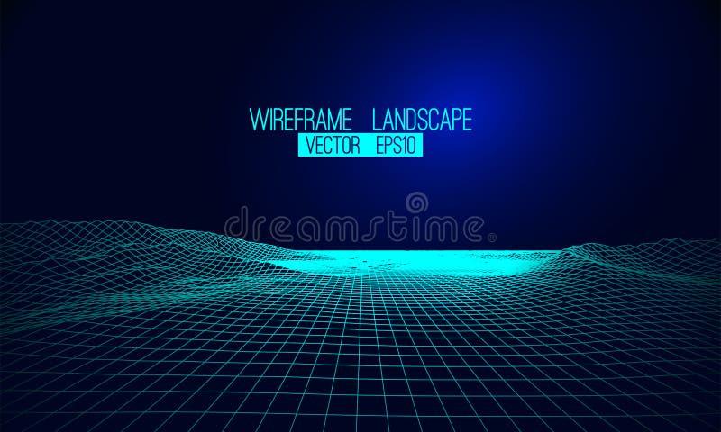 Abstrakcjonistyczny wektorowy wireframe krajobrazu tło Cyberprzestrzeni siatka 3d royalty ilustracja