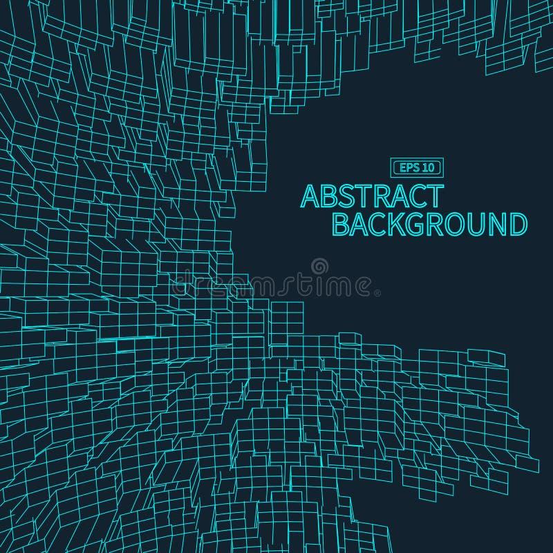 Abstrakcjonistyczny wektorowy wireframe krajobrazu tło Cyberprzestrzeni siatka 3d technologii ilustracja royalty ilustracja