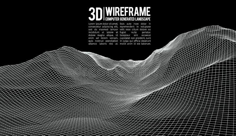 Abstrakcjonistyczny wektorowy wireframe krajobrazu tło Cyberprzestrzeni siatka 3d technologii wireframe wektoru ilustracja cyfrow ilustracja wektor