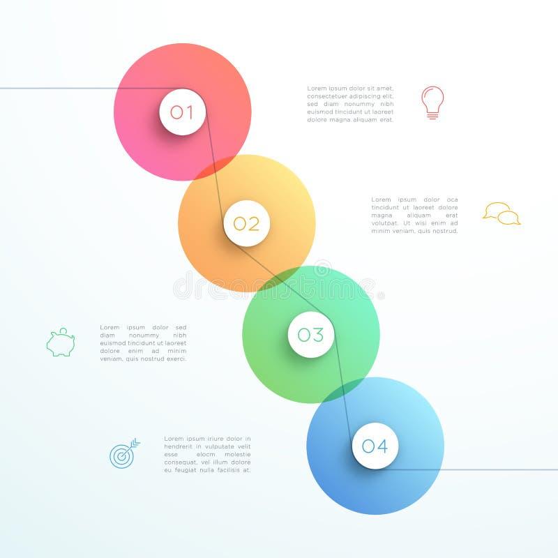 Abstrakcjonistyczny wektoru 3d 4 kroka okręgu Infographic szablon royalty ilustracja