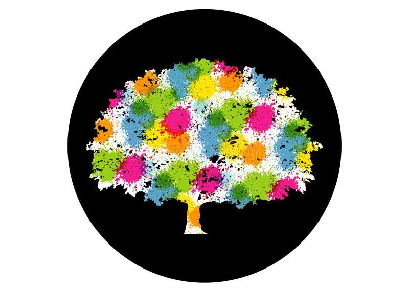 Abstrakcjonistyczny wibrujący drzewny logo projekt To jest drzewny logo, ja jest dobry dla symbolizuje r, ludzka opieka, ekologic ilustracji
